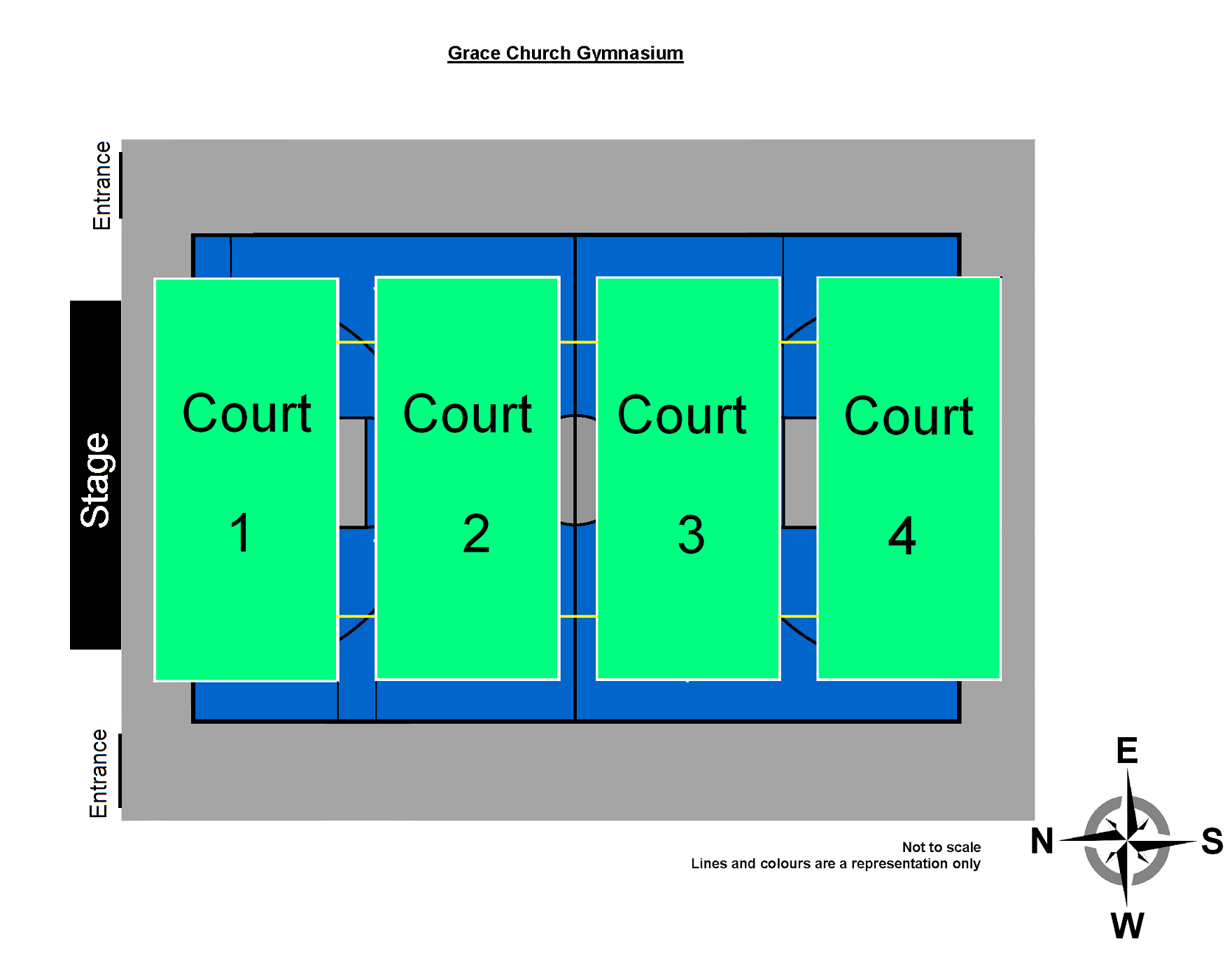 Layout of main gym badminton courts